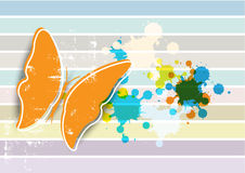 Butterfly on retro background Stock Image