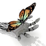 Butterfly and robot Royalty Free Stock Photography