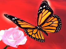 Butterfly and rose. The Scene of the butterfly and roses. It Is Executed in 3 D Royalty Free Stock Images
