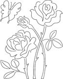 Butterfly and Rose Abstract/ai. Simple abstract line drawing of a butterfly and roses Stock Photography