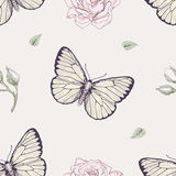 Butterfly and rose seamless pattern. Hand drawn butterflies and roses buds seamless pattern vintage engraving style Stock Photo