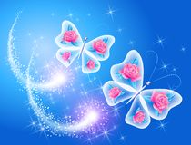 Butterfly with roses Stock Images
