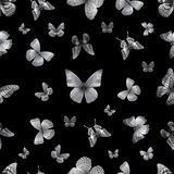 Butterfly s. black 01. Seamless pattern from butterflies, vector illustration, clip-art stock illustration
