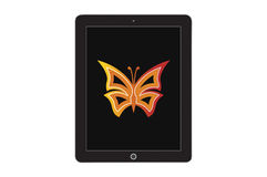 Butterfly on screen tablet Stock Image