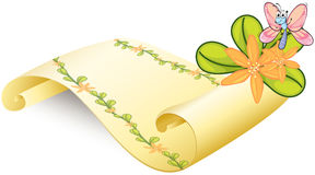 A butterfly and a scroll. Illustration of a butterfly and a scroll on a white background Royalty Free Stock Images
