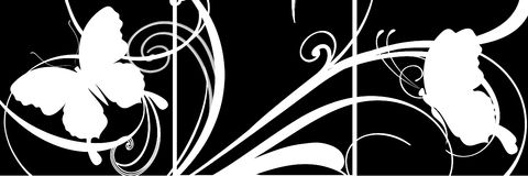 Butterfly scroll panels. Stencil butterfly and scroll  illustrations with connecting element on 3 panel layout Royalty Free Stock Photography