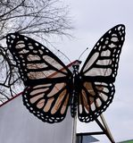 Butterfly Sculpture. This is a Winter picture of an untitled piece of public art of a Monarch Butterfly On exhibit in St. Paul, Minnesota in Ramsey County. This royalty free stock photos