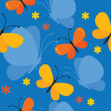 Butterfly seamless background. Vector seamless background with butterflies and flowers Royalty Free Stock Images