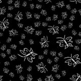 Butterfly seamless outline vector in line art style on black background. Line art butterfly. Cartoon animals. Simple design. Seamless pattern. Exotic wallpaper stock illustration