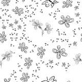 Butterfly seamless outline vector in line art style on white background. Line art butterfly. Cartoon animals, flowers and dots. Simple design seamless pattern royalty free illustration