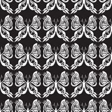 Butterfly Seamless Pattern - Black and White - Background - Optical Illusion Stock Photo