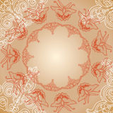 Butterfly seamless pattern with hand draw ornament Royalty Free Stock Photography