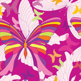 Butterfly seamless pattern. Happy summer party background in pop-art 1960s style Royalty Free Stock Photos