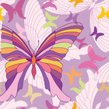 Butterfly seamless pattern. Happy summer party background in pop-art 1960s style. Butterfly festive seamless pattern. happy summer party background in pop-art royalty free illustration
