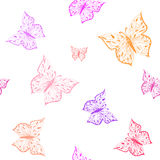 Butterfly seamless pattern. Ornamental hand drawn sketched colorful  vector illustration, isolated on white background Royalty Free Stock Photography