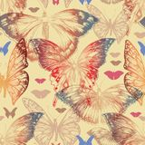 Butterfly seamless pattern in retro style vector illustration
