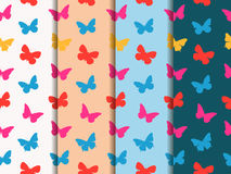 Butterfly seamless pattern. Set of seamless patterns. Multicolor butterflies. Royalty Free Stock Images