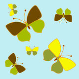 黄色butterfly_set 免版税库存图片