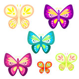 Butterfly set cartoon vector illustration. Stock Photo