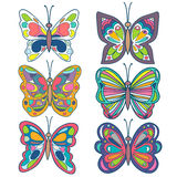 Butterfly set. Colorful beautiful butterfly collection. Butterfly . on white. Vector Illustration. Royalty Free Stock Photos