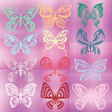 Butterfly set  on colorful violet background Stock Image