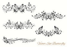 Butterfly set. Set of butterfly drawn. Romantic design element for wedding cards, in invitations and save the date cards Royalty Free Stock Images