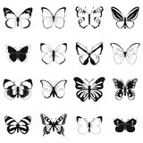 Butterfly set icons Stock Photography
