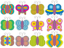 Butterfly Set. Illustration colorful pattern butterfly set icon white background. --- This .eps file info Version: Illustrator 8 EPS Document: 12 * 9 Inches ( stock illustration
