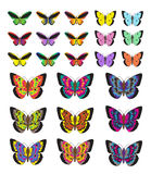 Butterfly set, isolated on white background. Multicolored butterflies. Vector illustration, clip art. Stock Photo