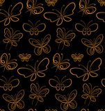 Butterfly set pattern Gold on Black simbols stock illustration