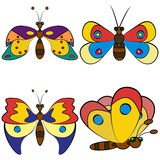 Butterfly set patterns. Royalty Free Stock Photo