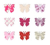 Butterfly set. Pink, red and warm tones. Stock Photos