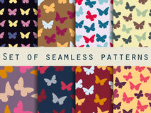 Butterfly. Set of seamless patterns with butterflies. Vector illustration Stock Images