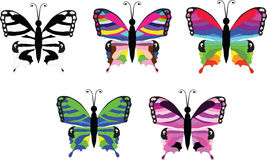 Butterfly set. Vector illustration of five colorful butterfly icon set Stock Photos