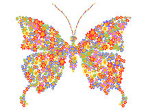 Butterfly shape with flowers Stock Photography