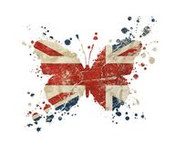 Butterfly shaped old grunge UK Great Britain flag. Butterfly shaped old grunge vintage dirty faded shabby distressed UK Great Britain national flag with paint Stock Photography