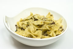 Butterfly-shaped pasta cooked with minced meat Stock Image