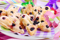 Butterfly shaped puff pastry cookies with blueberry Stock Photography