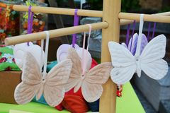 Butterfly shaped soaps. With flowery flagrances for spa business Royalty Free Stock Photos