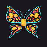 Butterfly from shiny colored gems. Butterfly from different colored gems: rubies, topaz vector illustration