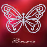 Butterfly with shiny diamonds. Butterfly, made with shiny diamonds. on the red blurred background. Vector illustration vector illustration