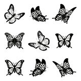 Butterfly of silhouette icon set vector illustration. Royalty Free Stock Photography