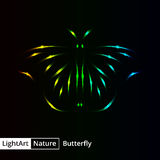 Butterfly silhouette of lights on black background Stock Images
