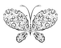 Butterfly silhouette ornament Stock Photography