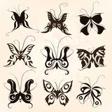 Butterfly silhouette set. Set of silhouettes of different butterflies Stock Image