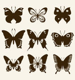 Butterfly silhouette set Stock Image