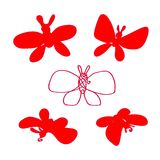 Butterfly silhouette set. Red set. Vector. The party decorations. Gift card. Butterfly silhouette set. Red set. Vector. The party decorations, Gift card Stock Images