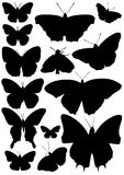Butterfly silhouettes Stock Images