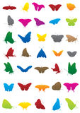 Butterfly silhouettes. 35 butterfly vector illustrations included Stock Image