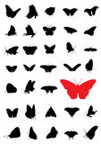 Butterfly silhouettes. A set of butterfly sihouettes for your design use Royalty Free Stock Photos